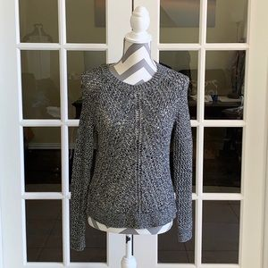 Lucky Brand Black and white tinsel knit sweater